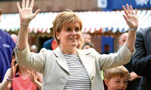 First Minister Nicola Sturgeon in Dumfries during the election campaign.
