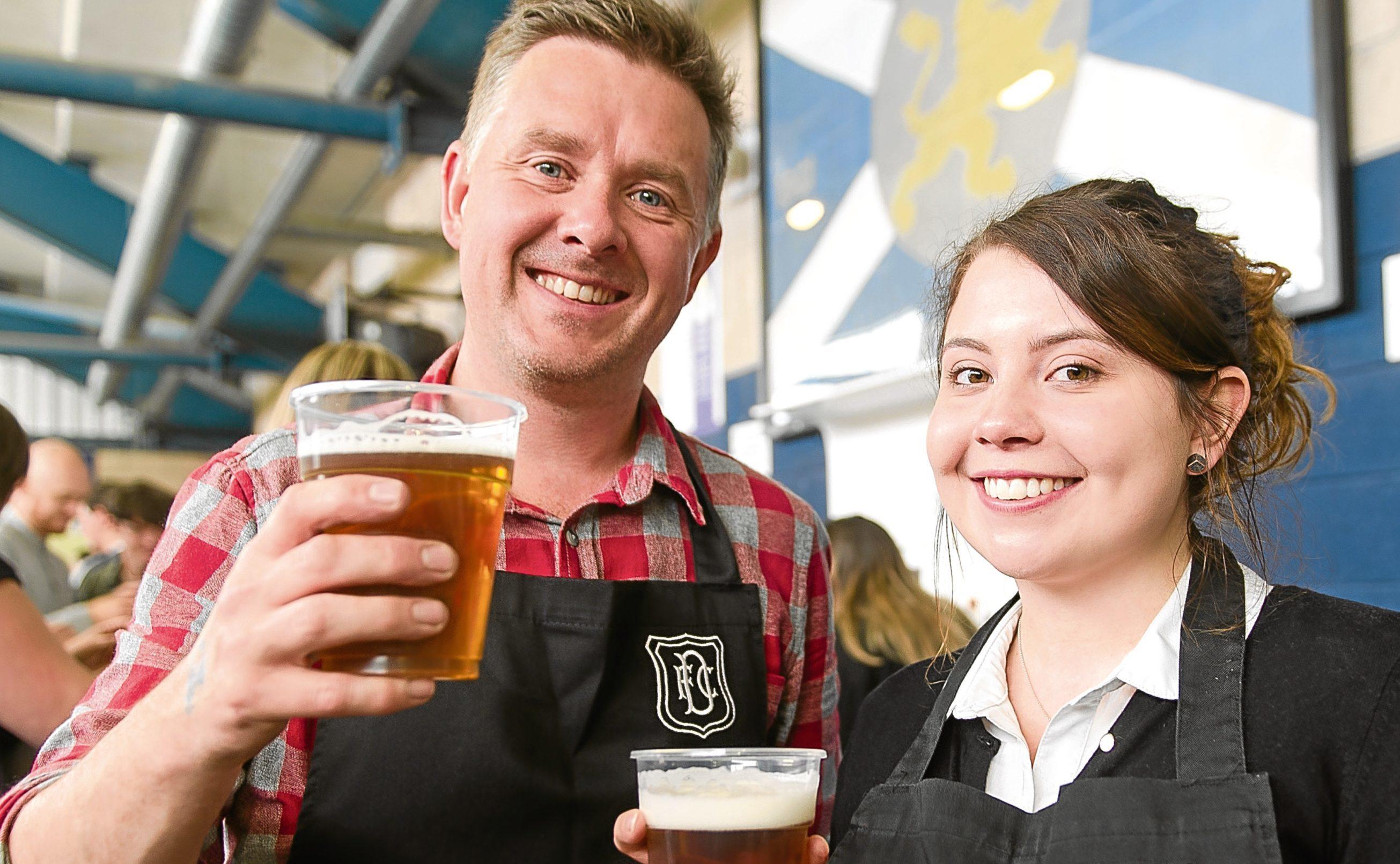 Organiser Jonny McInally and barmaid Iona Ramsay.