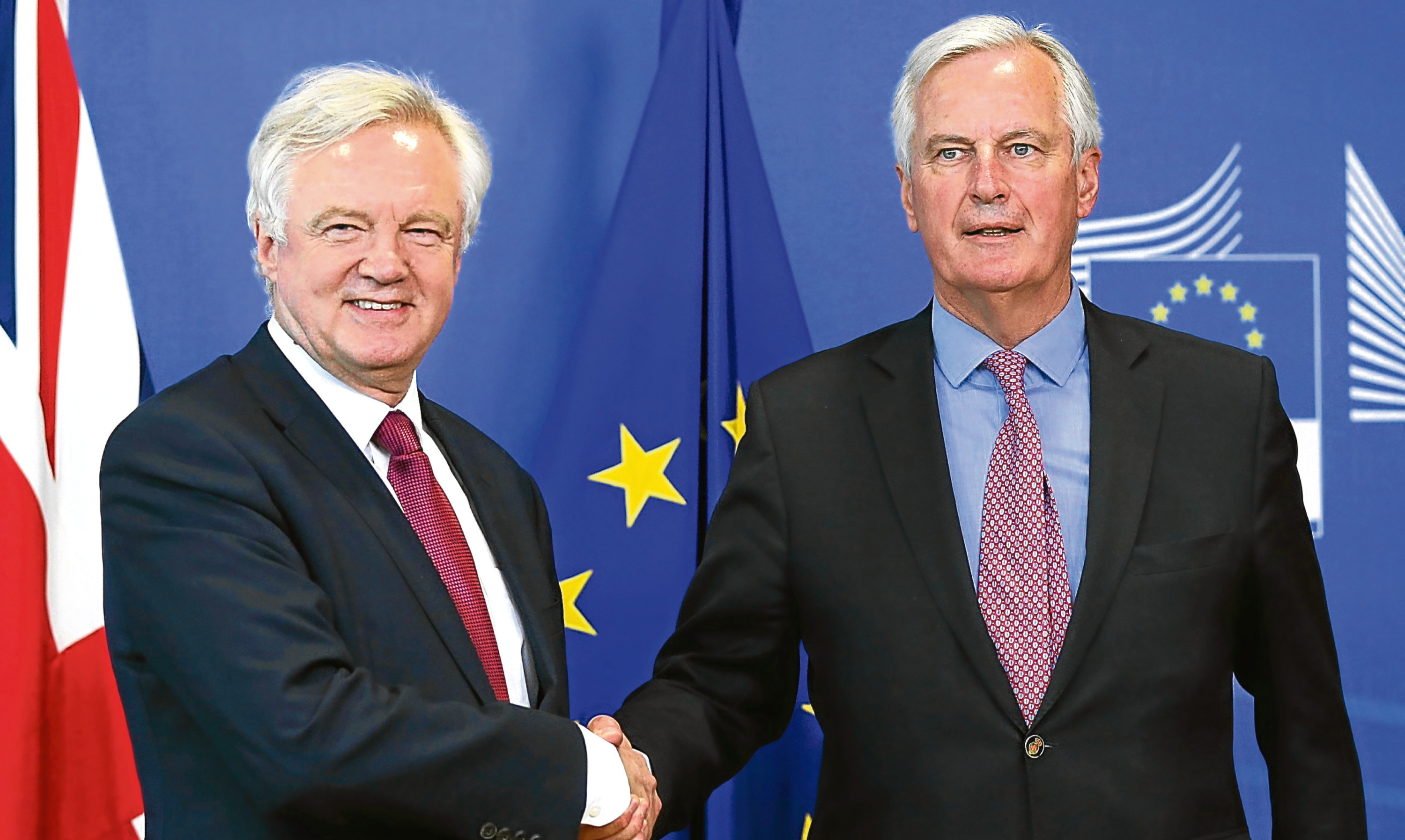Brexit secretary David Davis and EU negotiator Michel Barnier.