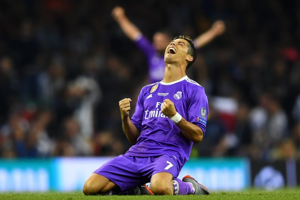 Cristiano Ronaldo of Real Madrid celebrates victory after the UEFA Champions League Final between Juventus and Real Madrid