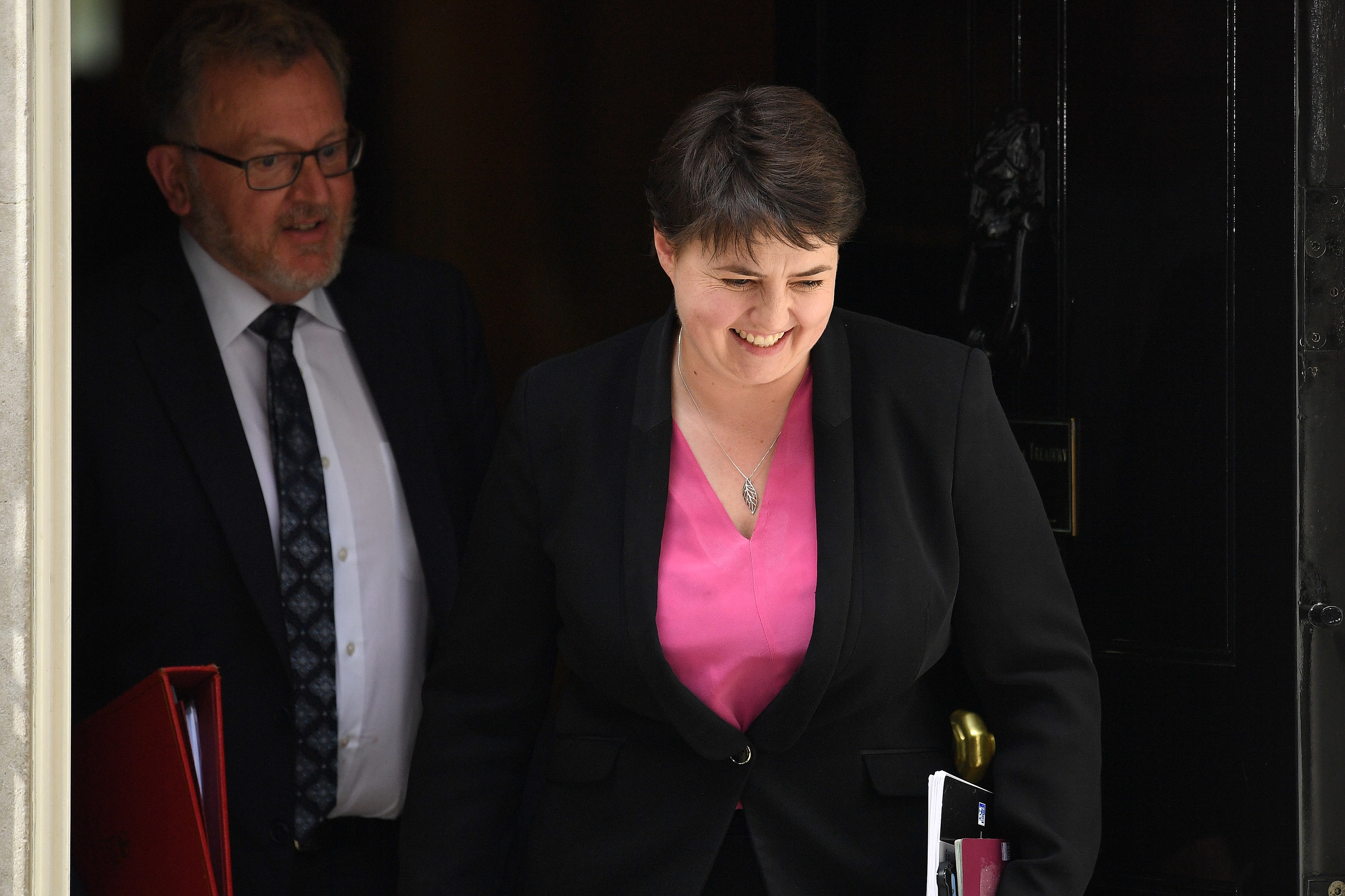 Ruth Davidson leaving 10 Downing Street with Scottish Secretary David Mundell this week.