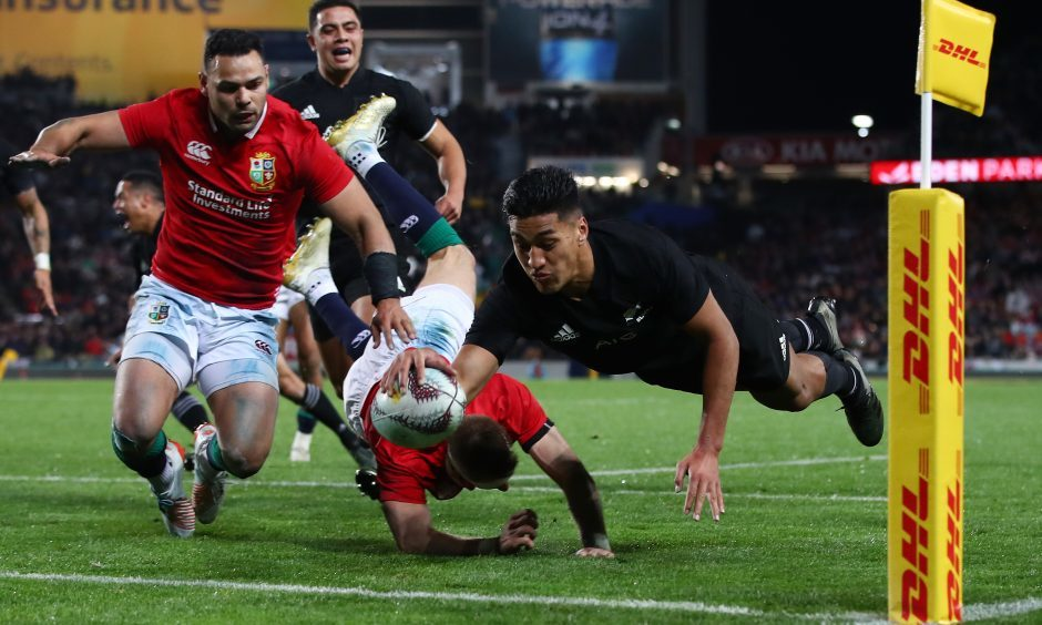 Rieko Ioane dives over to score New Zealand's second try in the first test.