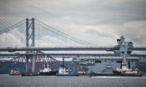 Fife dockyard hailed as aircraft carrier leaves Rosyth