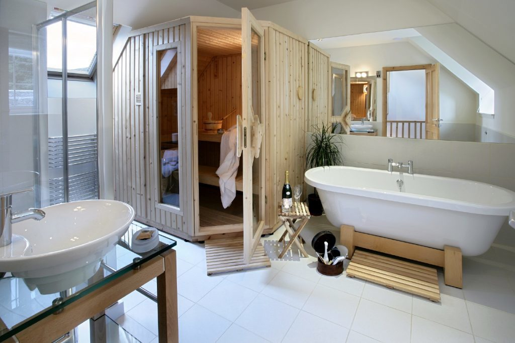 The bell tower bathroom at Mains of Taymouth.