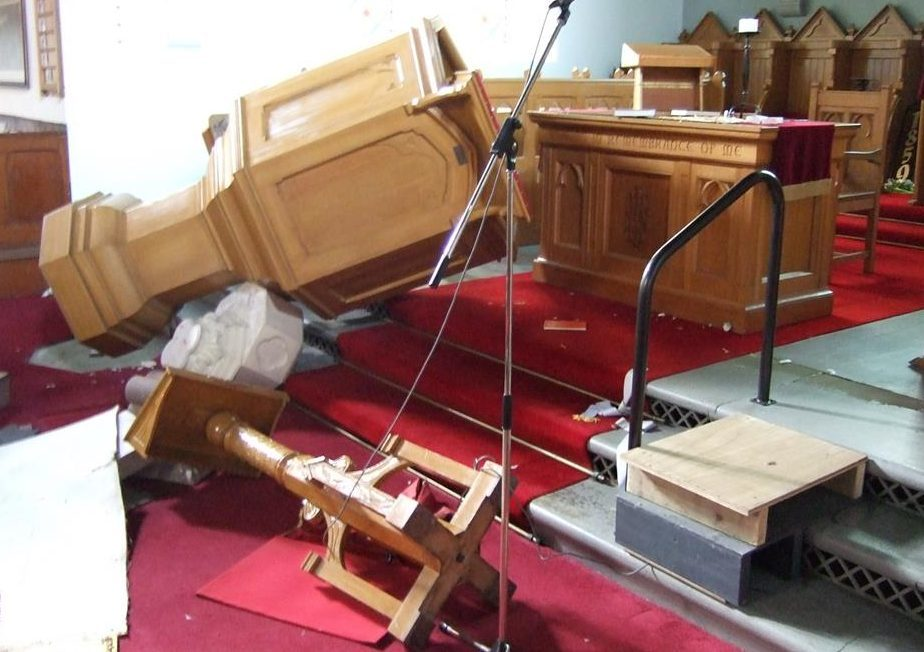 The trail of destruction left at Blackford Church.