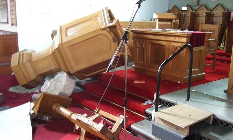The aftermath of vandalism at Blackford Church
