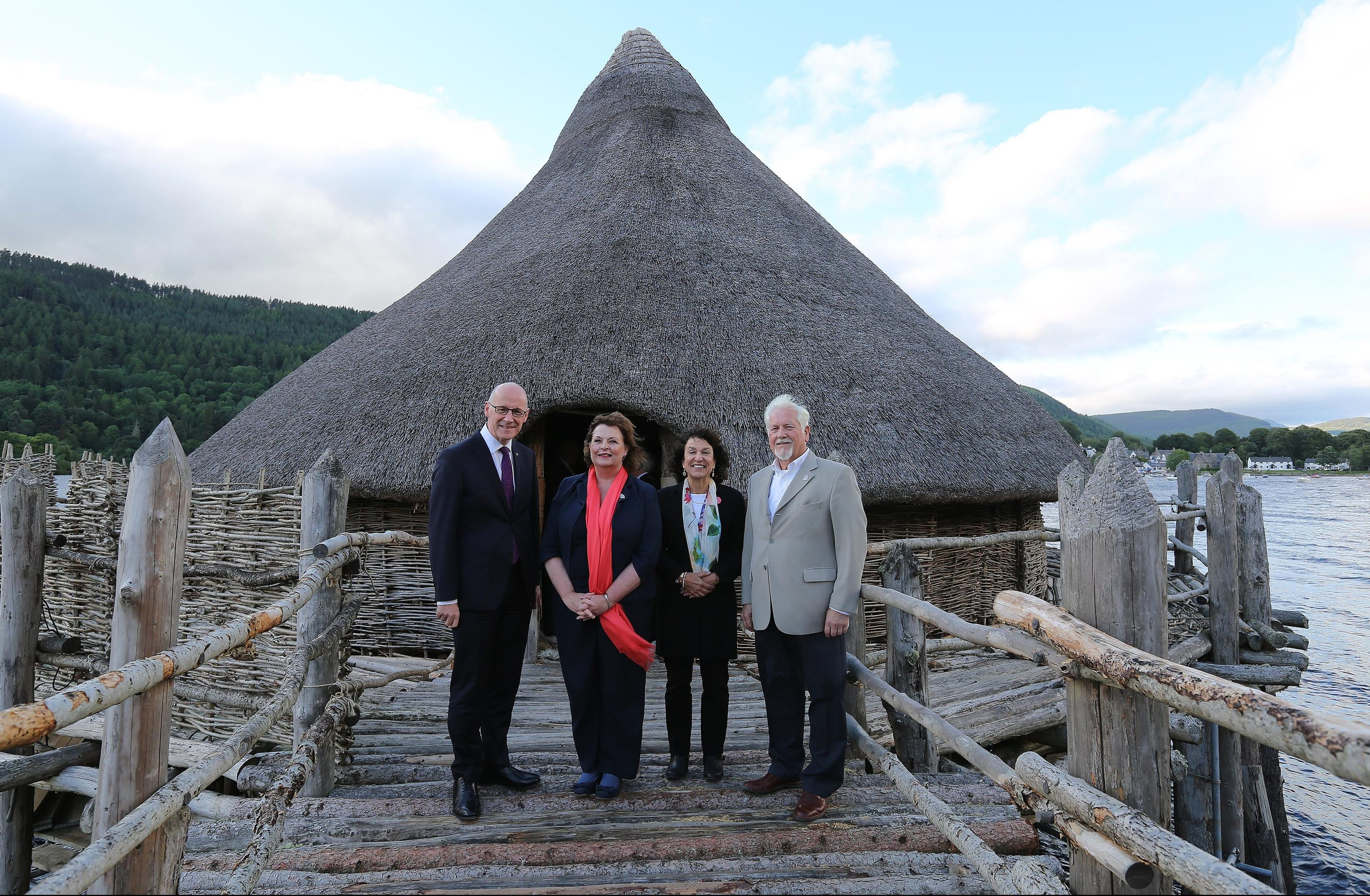 John Swinney, Fiona Hyslop, Barrie Andrian and Dr Nick Dixon at the crannog.