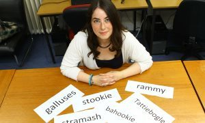 Eleanor Smith, a post-grad psychology student, who is researching the relationship between Scottish dialects and the English language, with some of the words, at the University of Dundee.