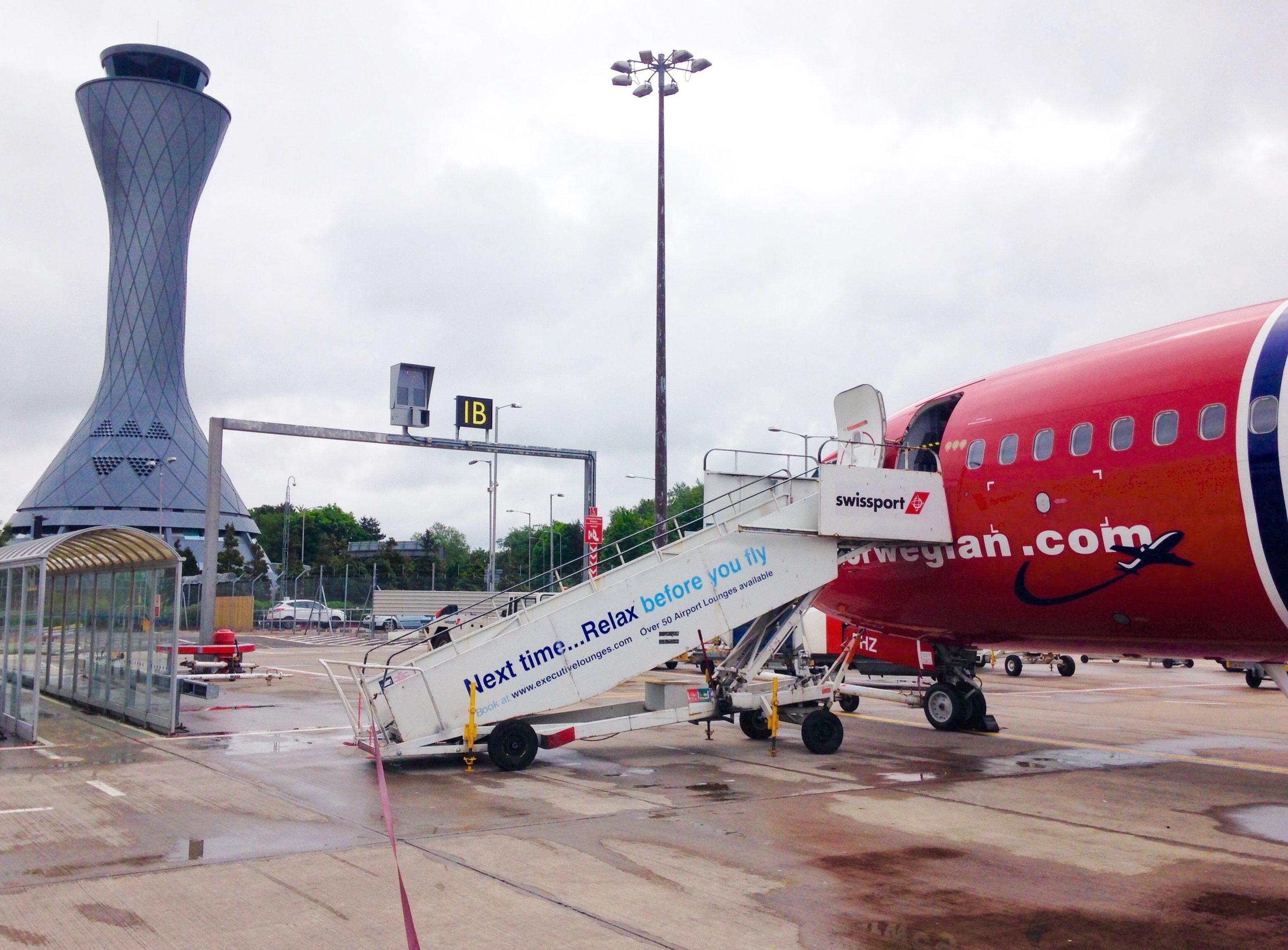 A Norwegian aircraft at Edinburgh Airport
