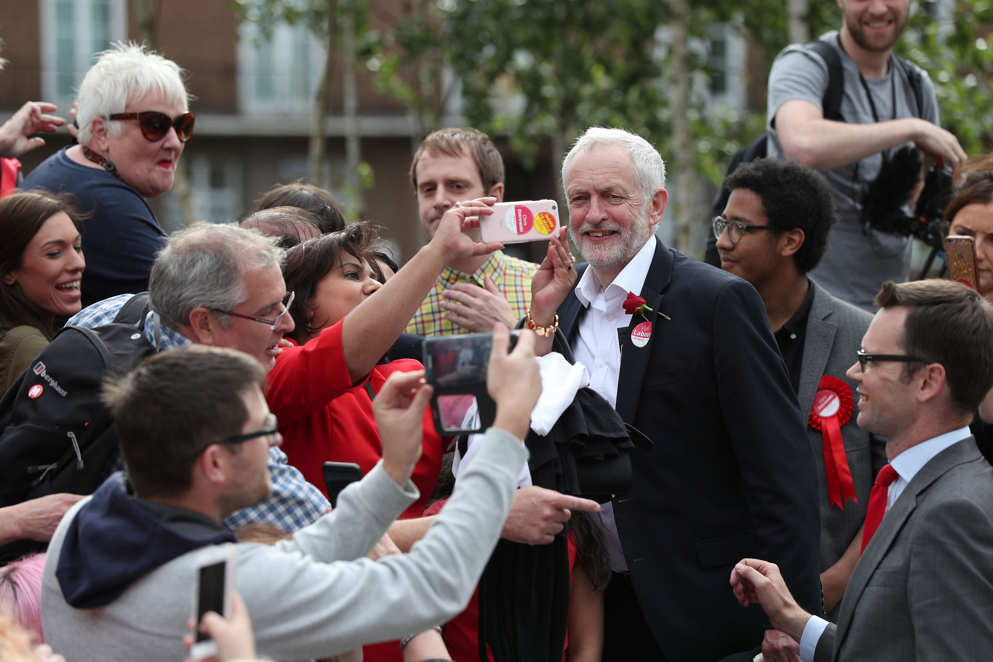 Labour leader Jeremy Corbyn after speaking at an event at the Parade in Watford while on the General Election campaign trail yesterday.
