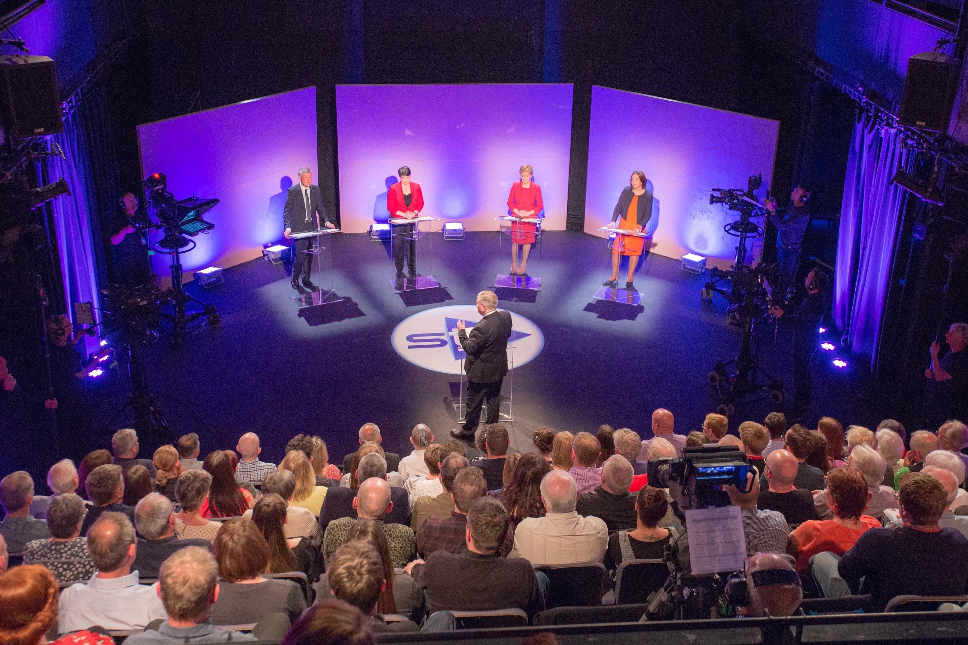 STV's political editor Bernard Ponsonby presenting an STV debate with, from left, Scottish Liberal Democrat leader Willie Rennie, Scottish Conservative leader Ruth Davidson, SNP leader Nicola Sturgeon and Scottish Labour leader Kezia Dugdale.
