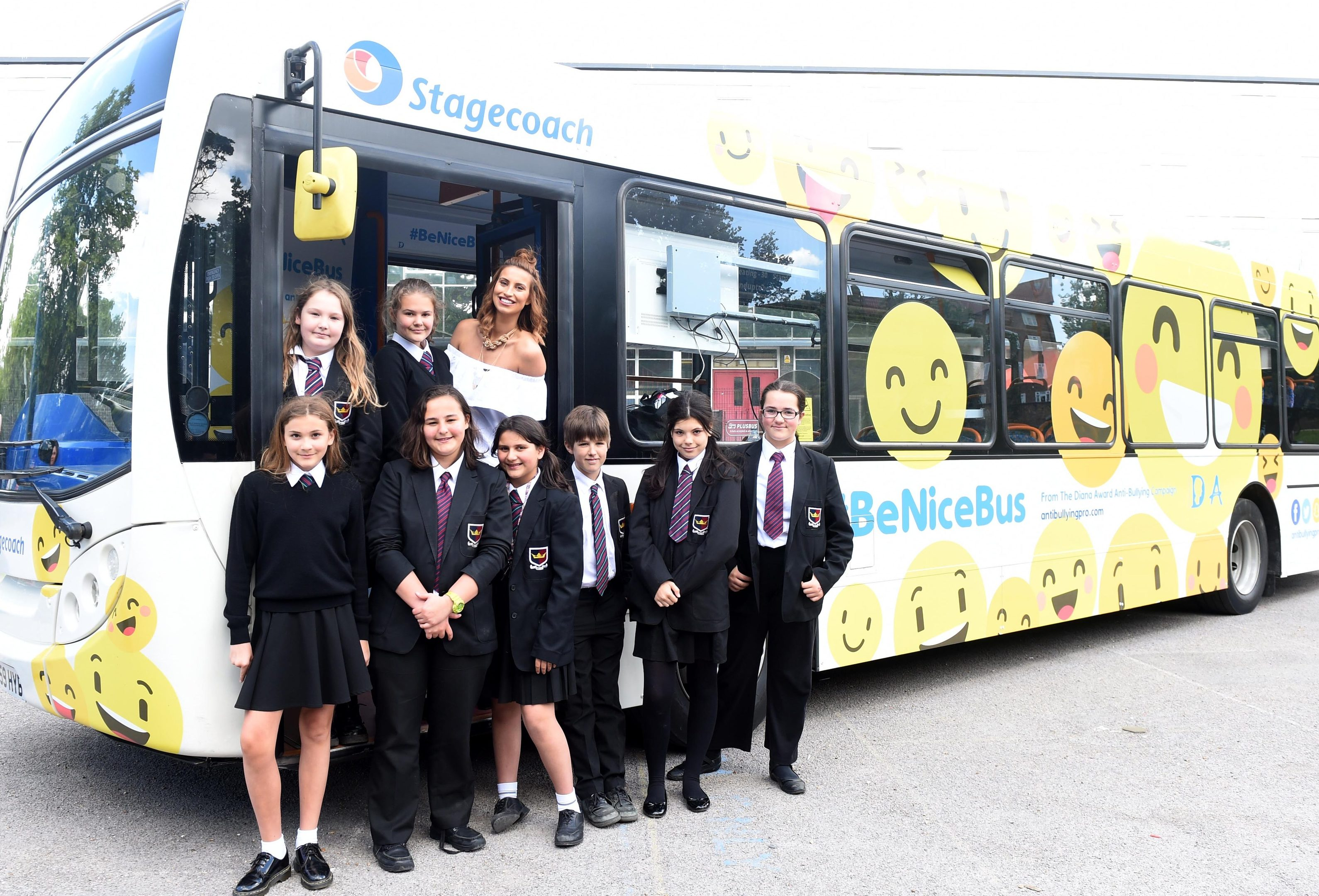 The launch of the UK's first and only anti-bullying #BeNiceBus with The Diana Award and Stagecoach, held at Kingsdale Foundation School, Alleyn Park, London. TV presenter  Ferne McCann is pictured with teenagers