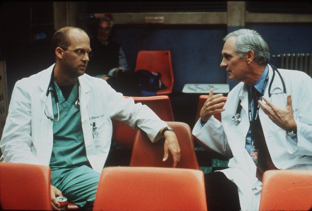 Anthony Edwards and Alan Alda in ER.