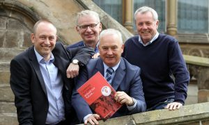 Courier Sport- launch of Dundee United supporters Federation, picture shows; Mike Evans, John Gibson, Graham McLelland & Martin Manzi, friday 23rd June.