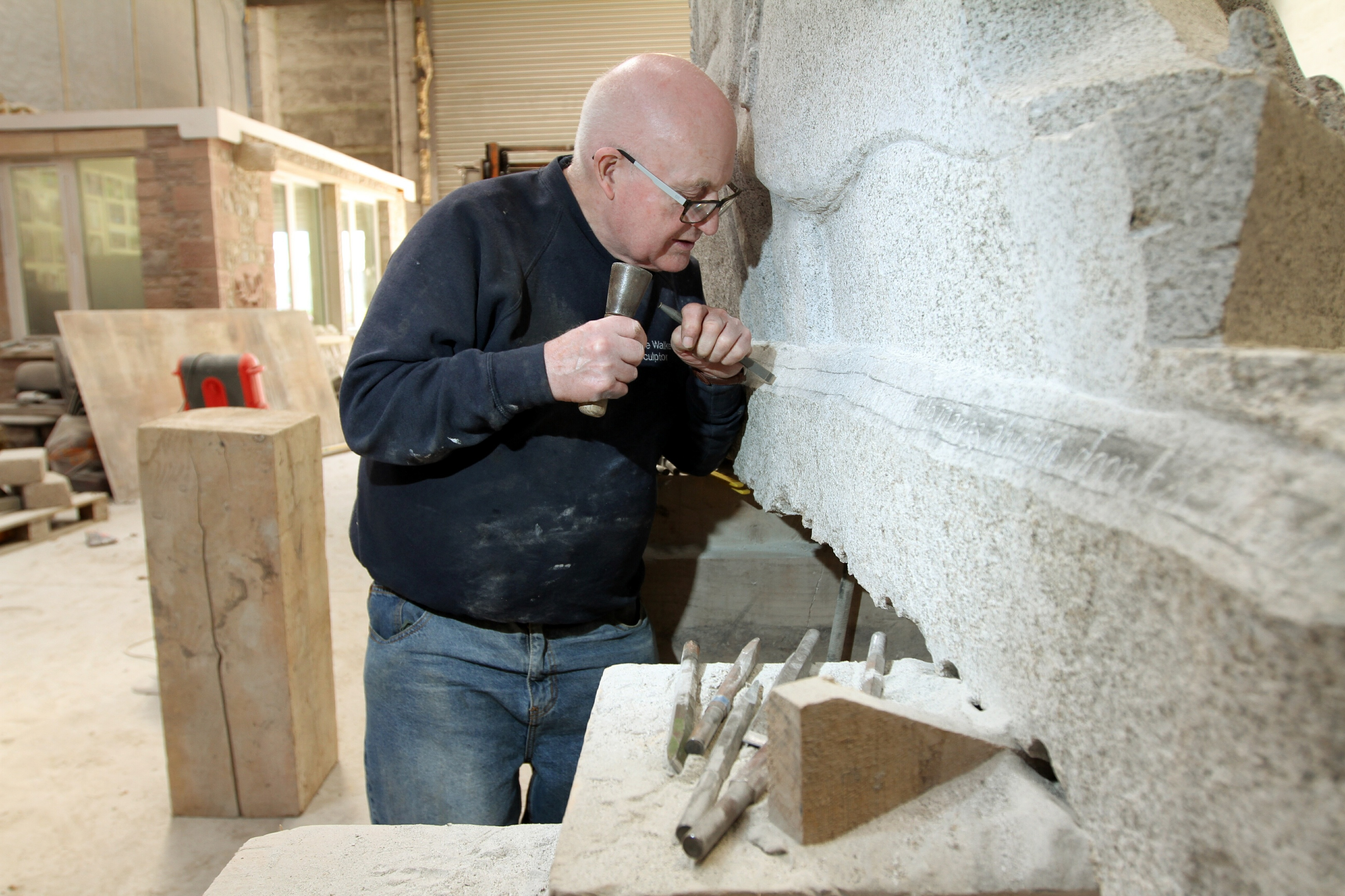 Bruce Walker at work on his latest commission.
