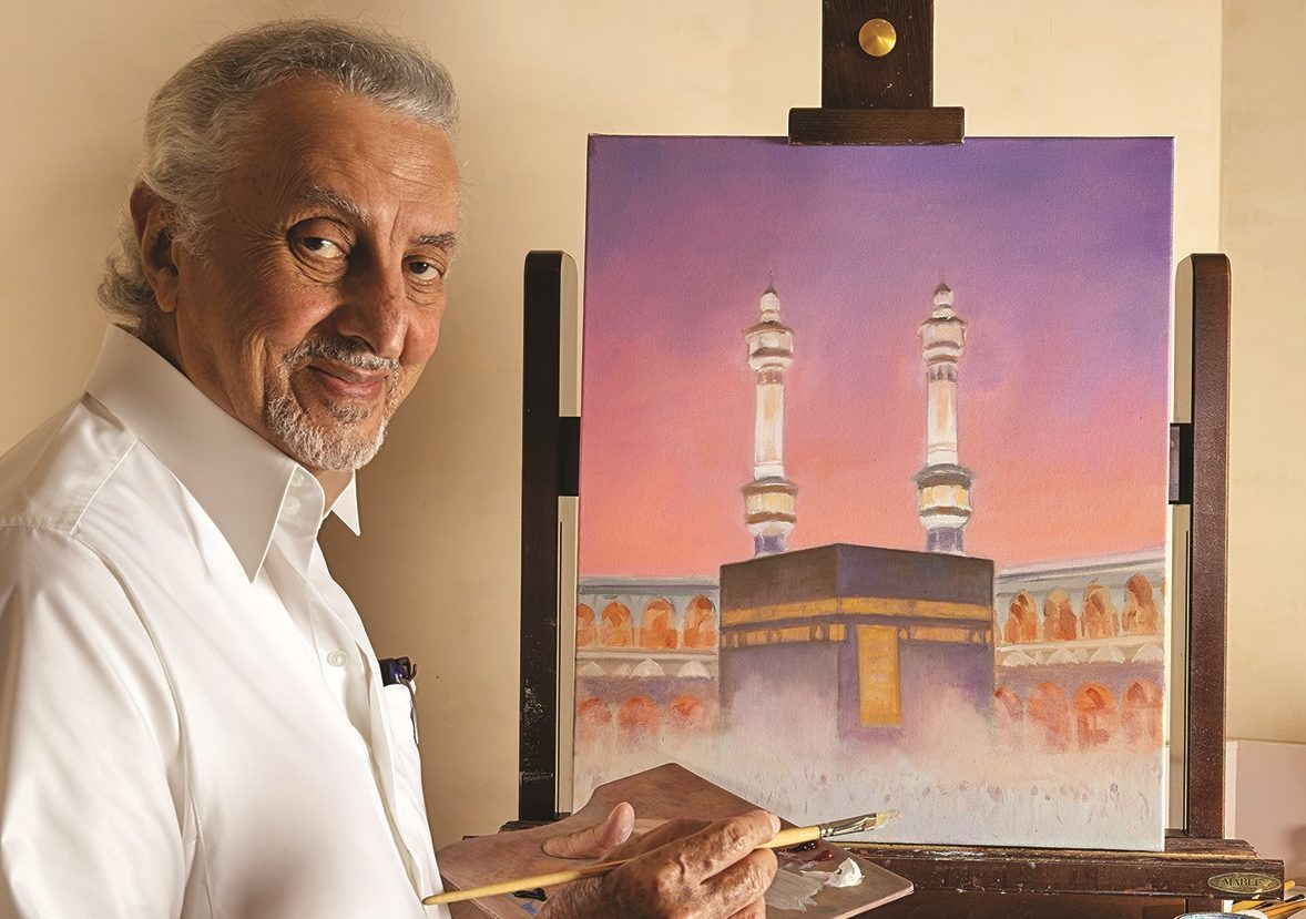 HRH Prince Khaled Al Faisal, Governor of Mecca of Saudi Arabia, with one of his paintings.