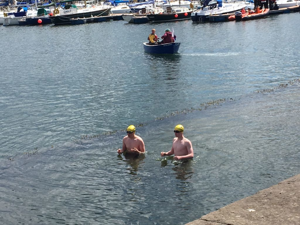 The swimmers took to the water ahead of a bid to set a new record.