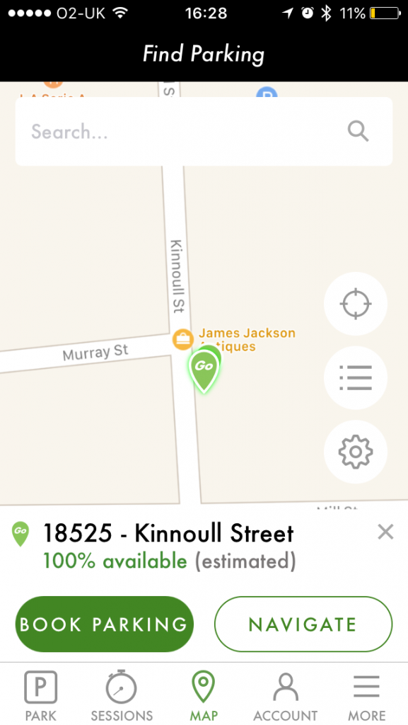 """Kinnoull Street"" is selected on the first tap."