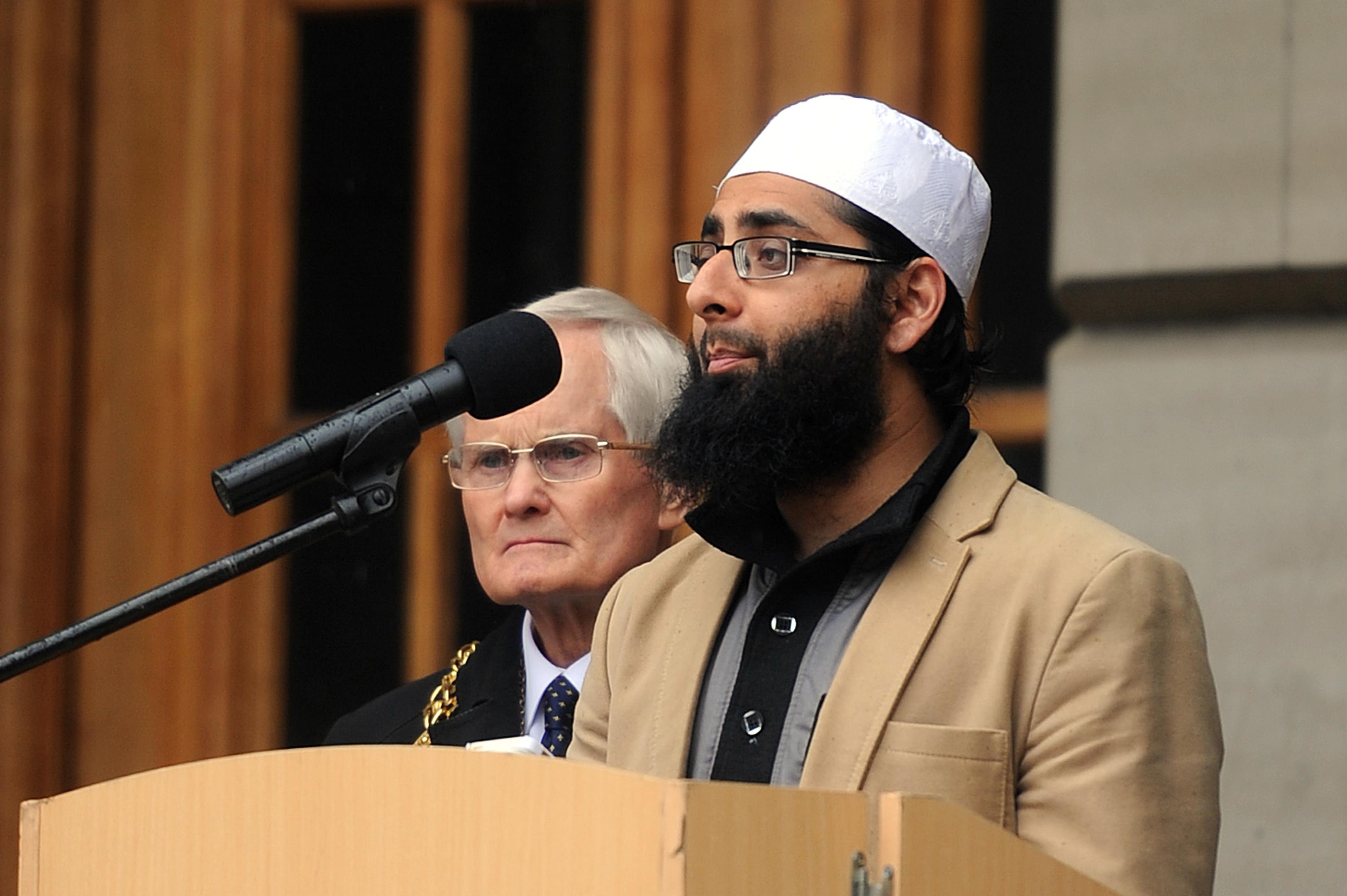 Imam Hamza addresses the crowd in City Square.
