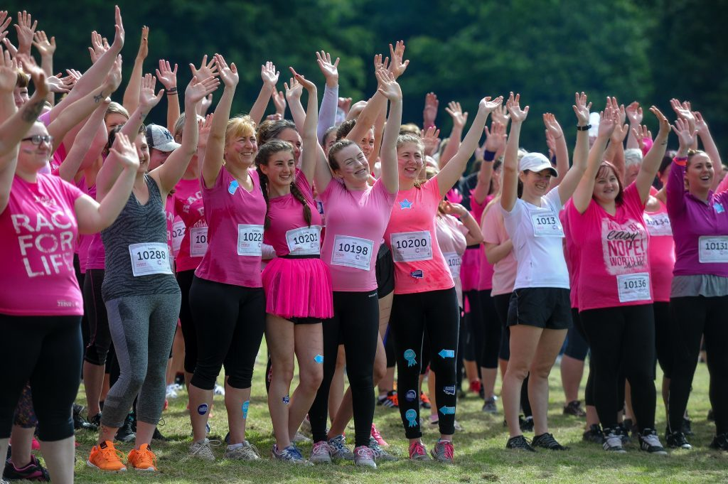 Race for Life charity fundraiser for cancer research.