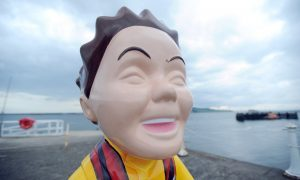 Some of the damage to the RNLI Oor Wullie statue.