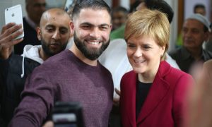 Nicola Sturgeon with Raheel Khan at Dundee Mosque.