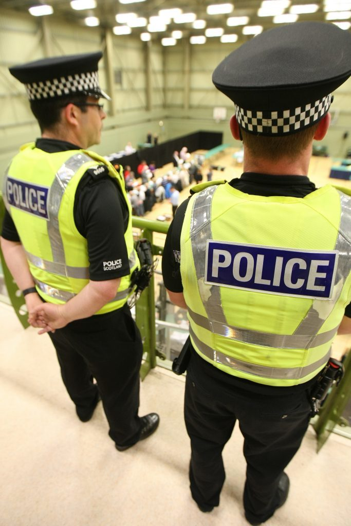 Police Scotland keeping an eye on proceedings at the Dundee count.