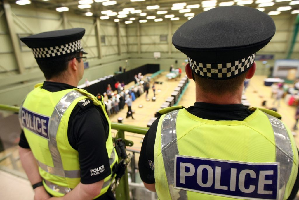 Officers from Police Scotland keeping an eye on proceedings at the Dundee count.