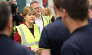 First Minister Nicola Sturgeon visiting the Michelin plant in Dundee on June 21.
