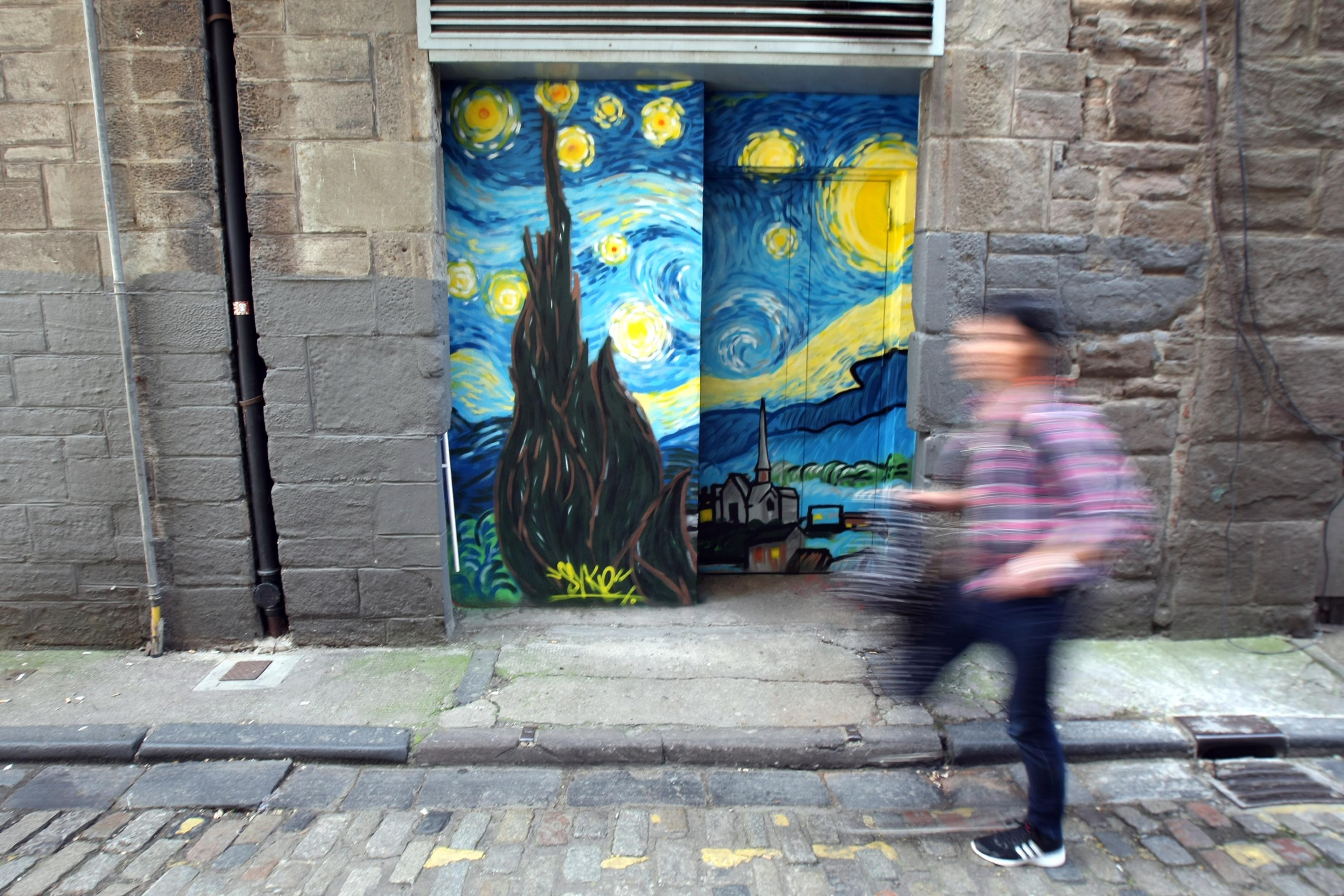 Street art in Couttie's Wynd.