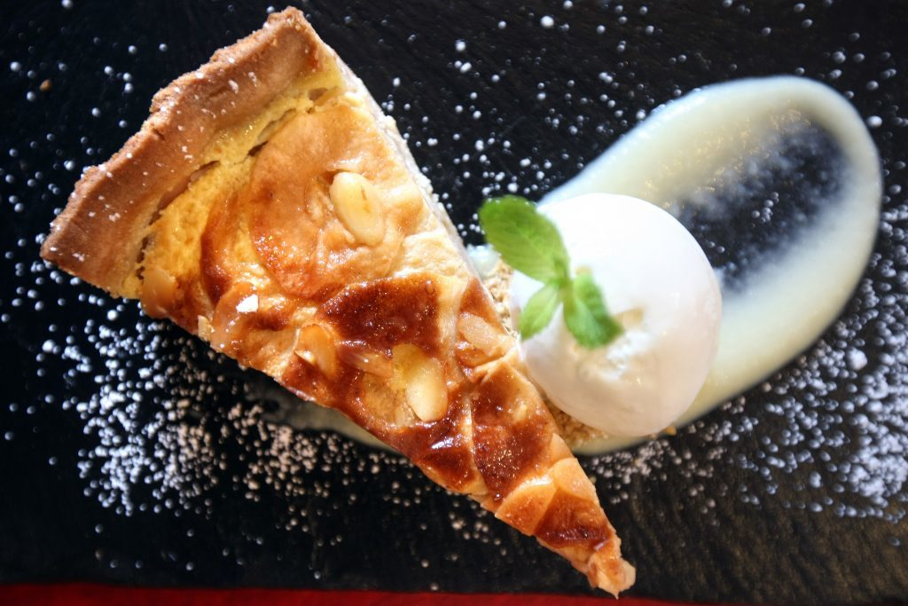 Courier Features. features story. Cafe Tabou in St John's square, Perth for 'Menu'. Picture shows; Apple Normandy Tart; Mackerel au Vin Blanc and Petit sale aux lentil at Cafe Tabou in Perth. Monday, 19th June, 2017.