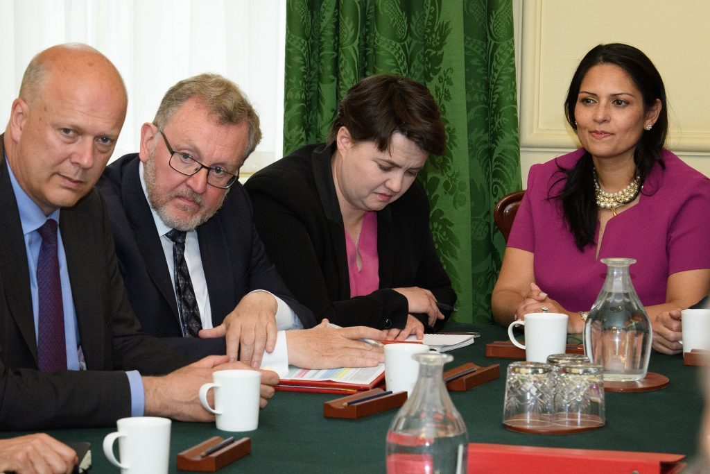 Ruth Davidson listens as Prime Minister Theresa May holds the first Cabinet meeting since the general election.