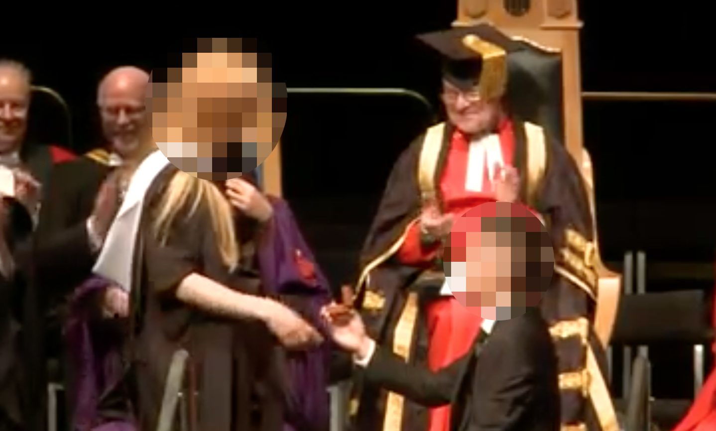 The marriage proposal backfires at Aberdeen University.
