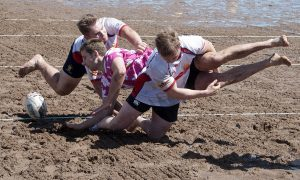 Teams taking part in the beach rugby event in Carnoustie.