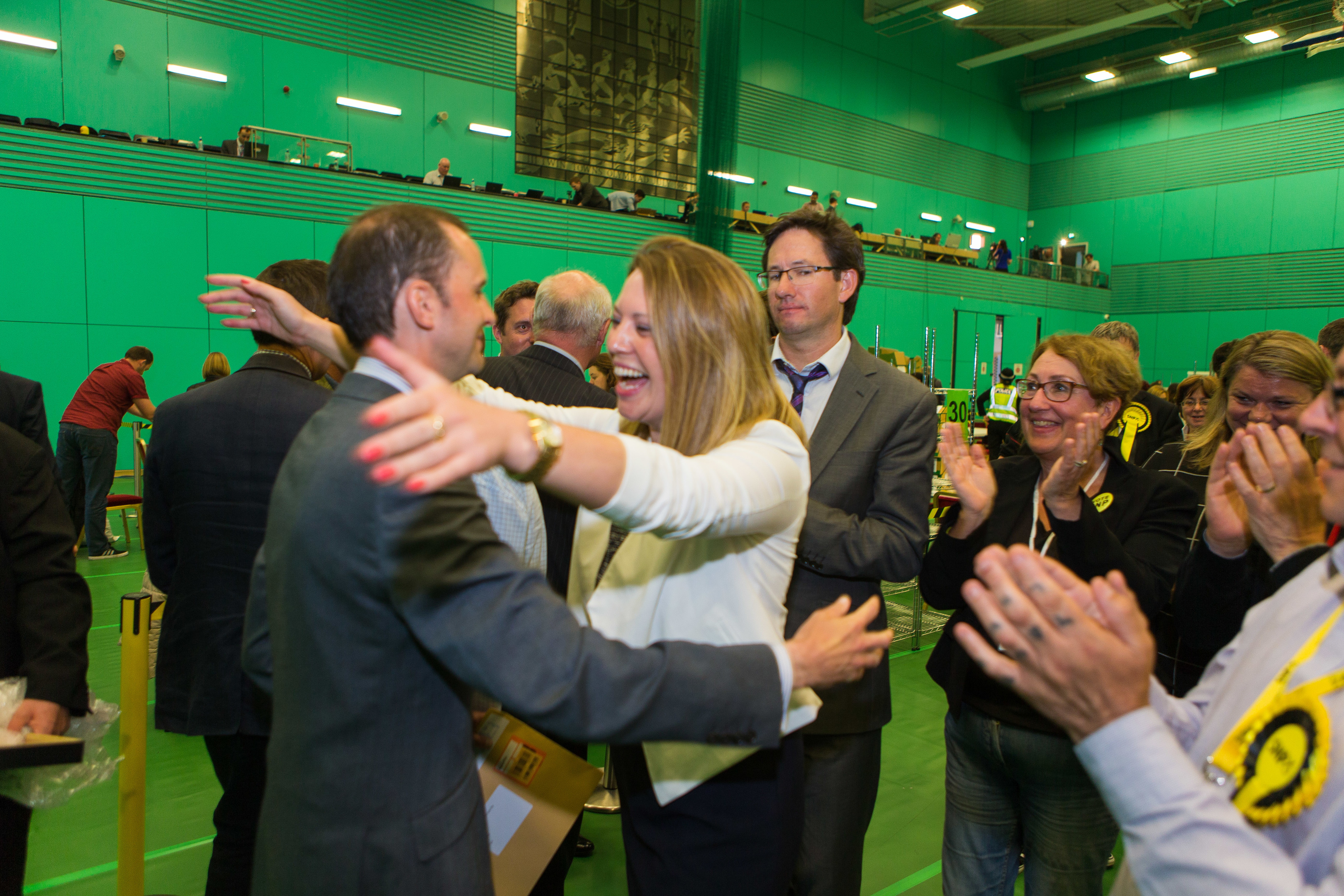 Congratulations all round at Michael Woods Centre in Glenrothes, as Stephen Gethins wins North East Fife.