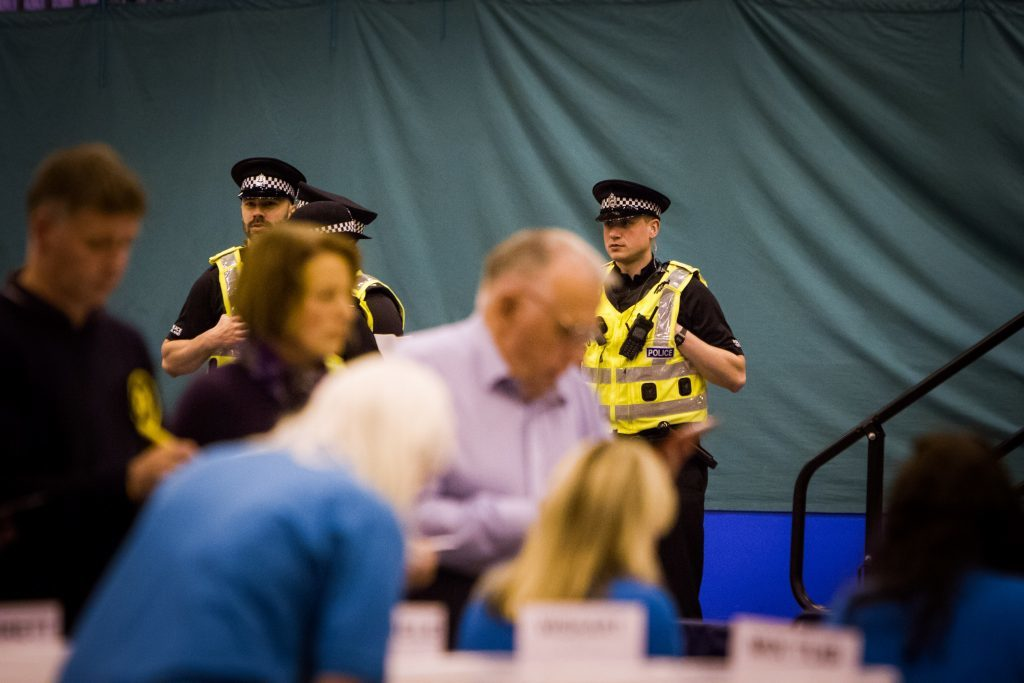 Police keeping an eye on proceedings at Bells Sports Centre, Perth.