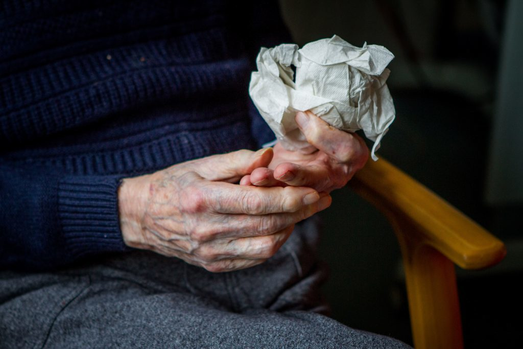Courier News - Perth - Kirsty McIntosh Story. D-Day veteran Reg McDonnell recounts his war days. Picture shows a detail of Reg McDonnell's hands during interview. Pitlochry Community Hospital, Ferry Road, Pitlochry. Tuesday 6th June 2017.