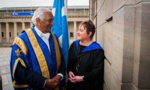 Sarah Beattie meets Lord Naren Patel prior to the graduation.