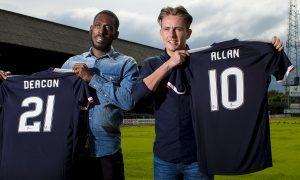 Roarie Deacon and Scott Allan will make their first Dens Park appearances against Bolton.