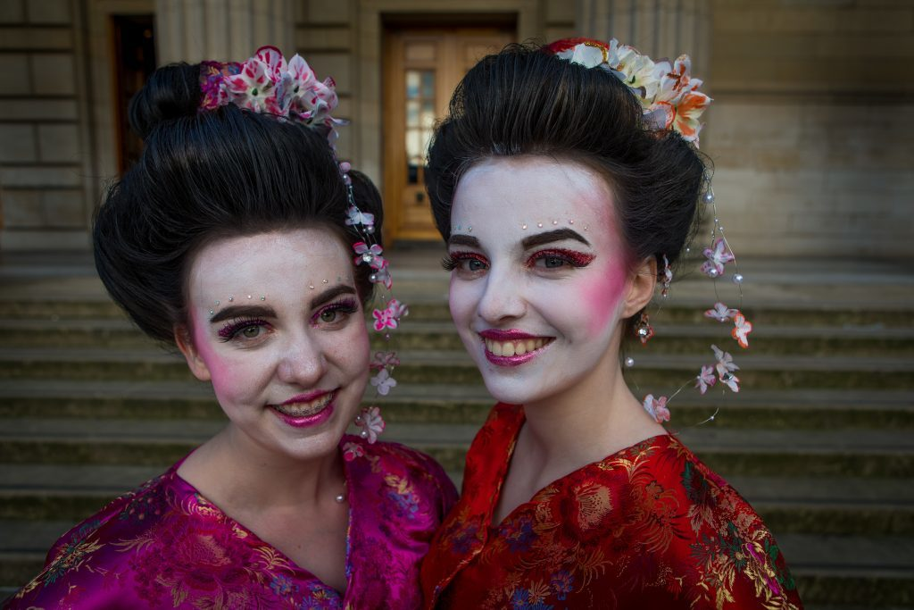 Katie Leggat (16) and Charlize Murray (15) as Geishas from Fraserburgh Academy.
