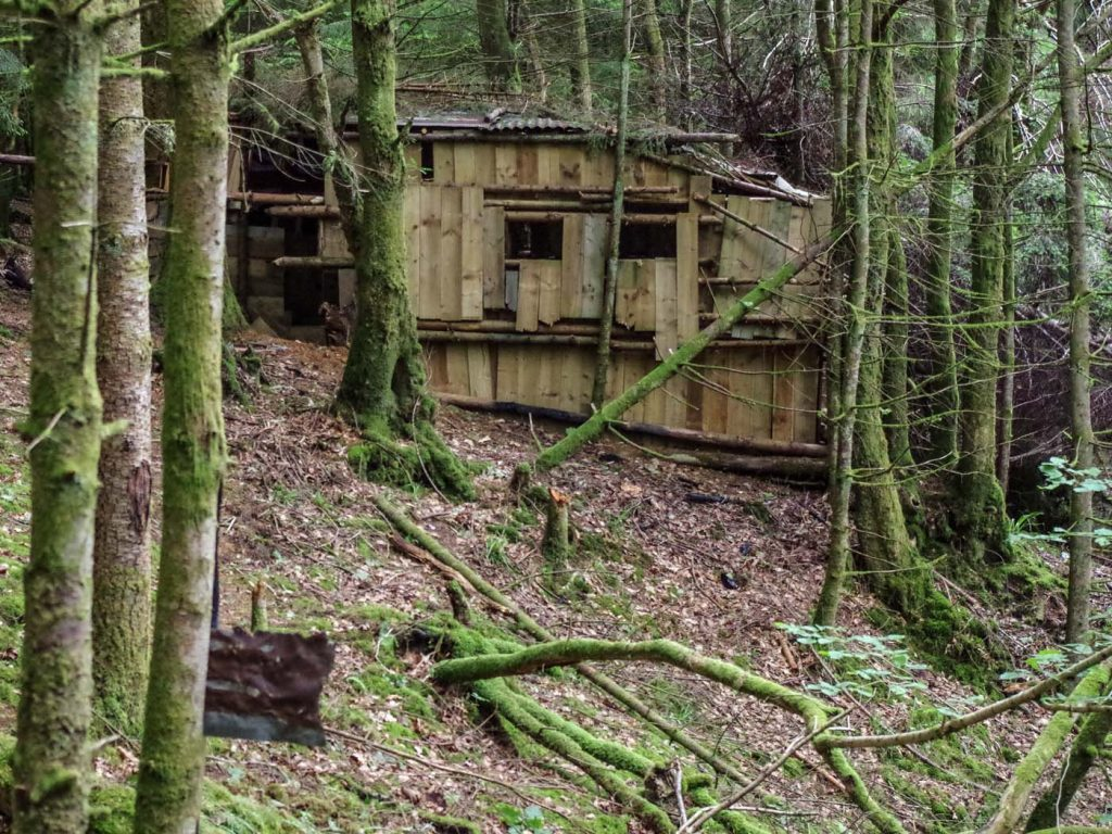 """Holes were cut in the side of the """"gang hut"""" to enable airguns to be trained on targets set up 50 metres away."""