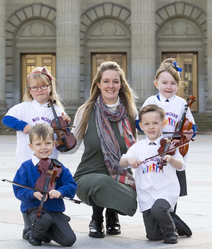 The launch of Big Noise Douglas partnership agreement in May: Ryan Mackenzie, Bella Riddell, Rhylee Traynor and Caitlyn Bertie with Sistema Scotland chief executive Nicola Killean.