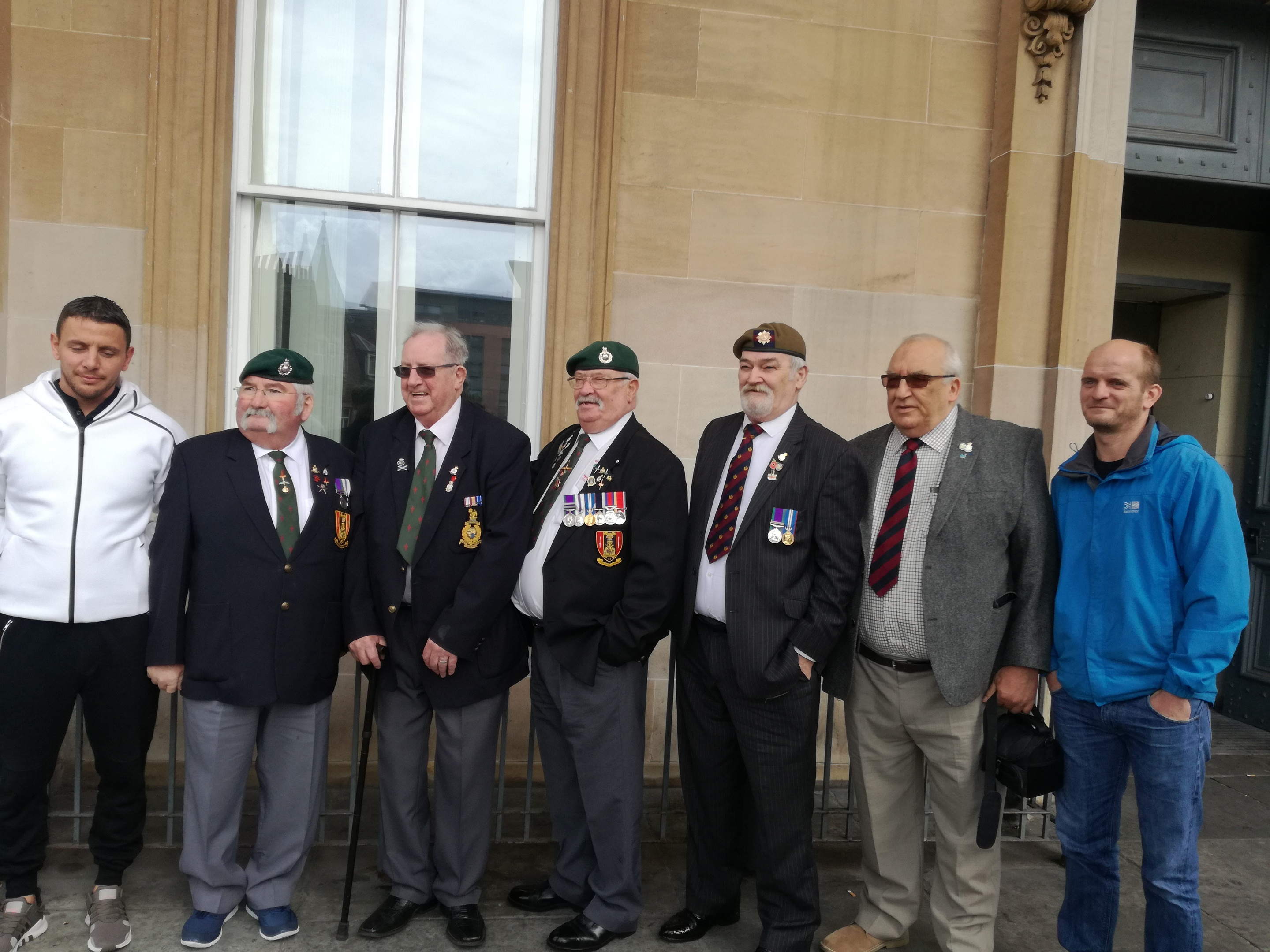 Veterans attend Dundee Sheriff Court yesterday.