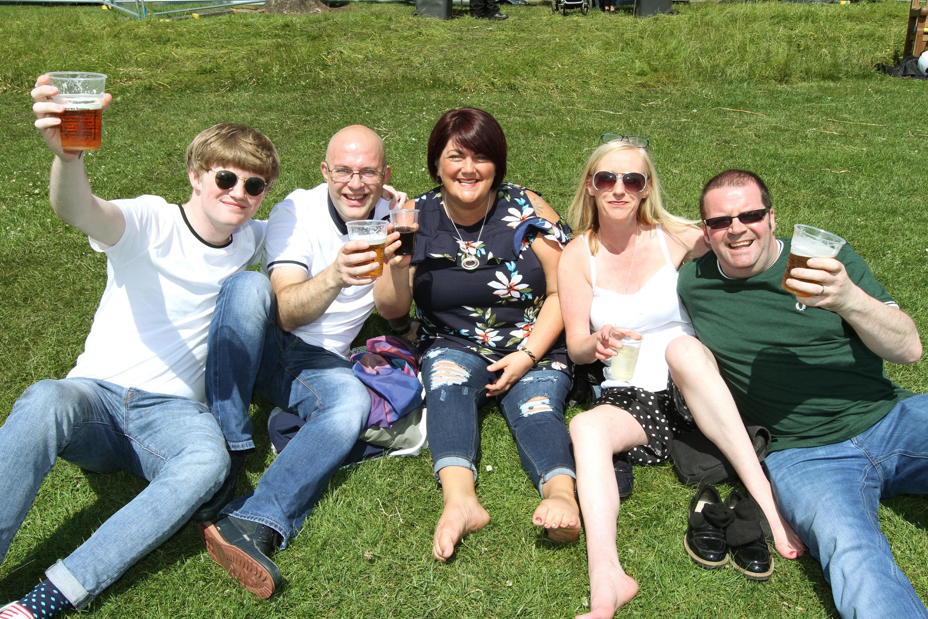 Ryan Horne, Stephen Davidson, Vicky Davidson, Maggie Horne and Sean Horne from West Port enjoying WestFest.