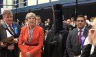 Theresa May next to Lord Buckethead. Credit: @LordBuckethead