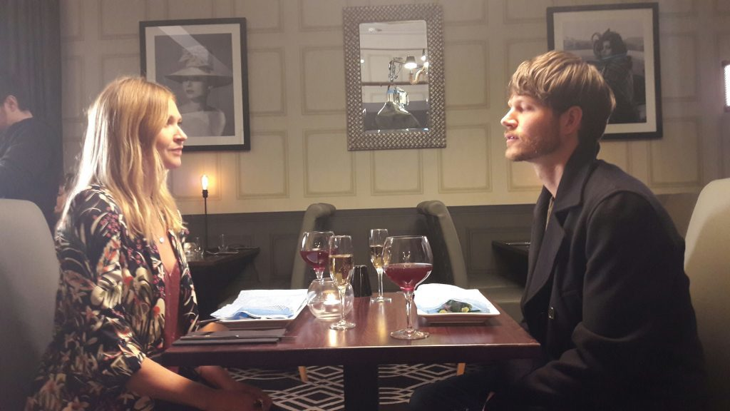The restaurant scene being filmed at The Caird. 'Jack' on the right is joined by his screen girlfriend played by Edinburgh musician and actress Clare Martin