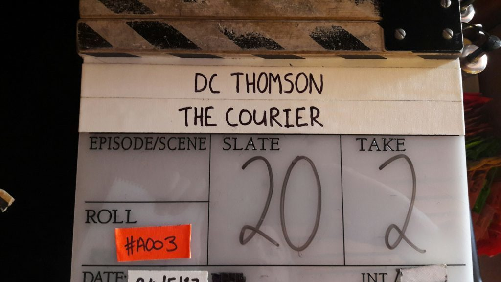 Clapaboard for the Courier film