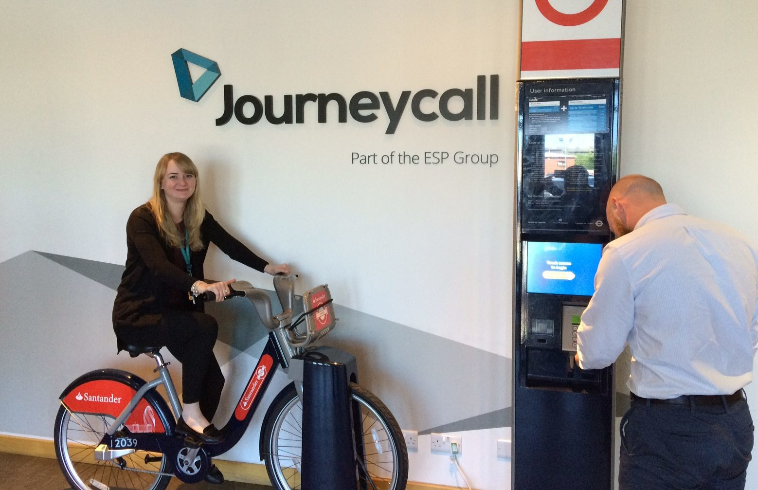 Office manager Keri McGregor tries out one of the bikes and a docking station that found its way to Journeycall's premises in Arbroath