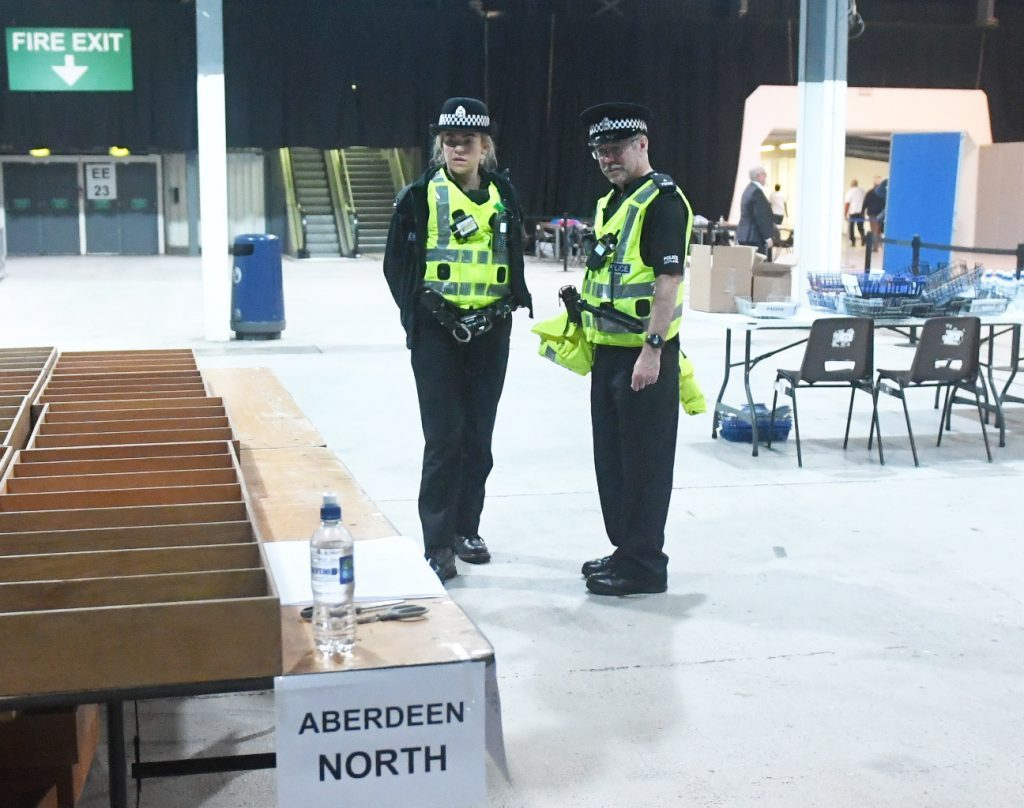 Picture from the 2017 General Election count at the AECC. Police at the count. Picture by Chris Sumner Taken 8/6/17