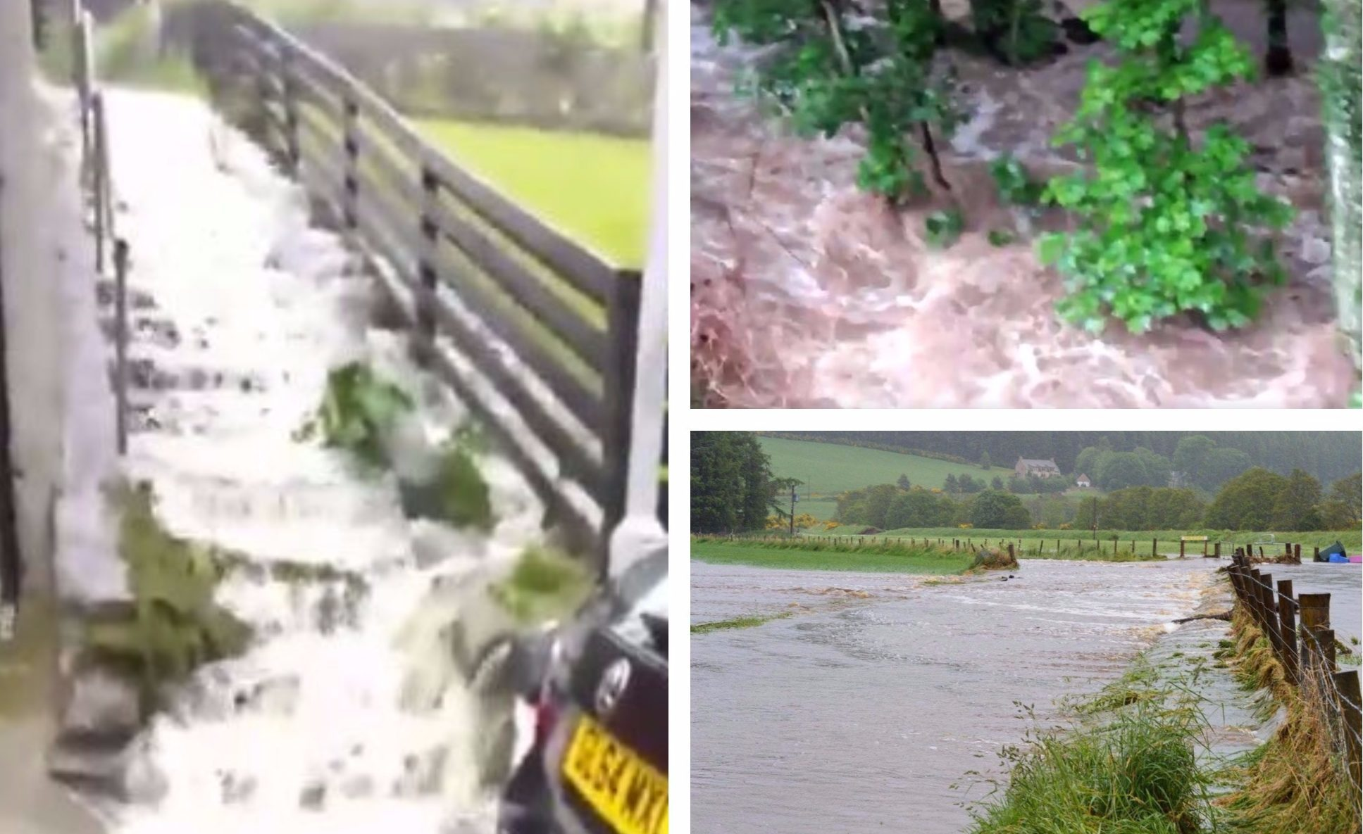 Flooding has hit parts of Scotland. Credit: Ricky Boyd, Kirsty Boyle and Caroline McFarlane on Twitter.